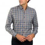 Chemise droite Prince de Galles col boutonné