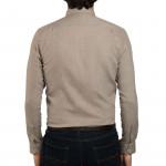 Chemise droite chevron tweed col boutonné