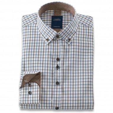 Chemise droite carreaux anglais col boutonné
