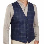 Gilet tailleur carreaux laine
