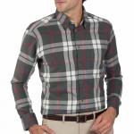 Chemise droite carreaux flanelle col boutonné