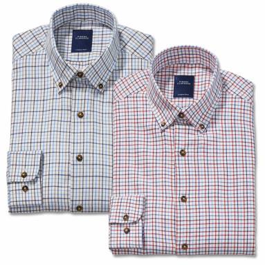 Chemise droite flanelle carreaux col boutonné - les 2