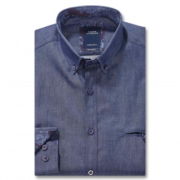 Chemise ajustée denim col boutonné