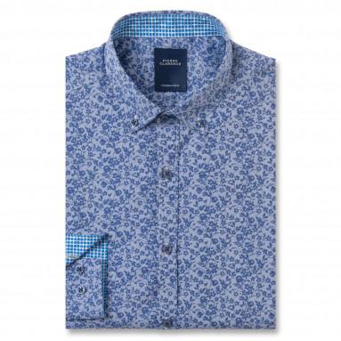 Chemise ajustée imprimée fleur popeline col boutonné