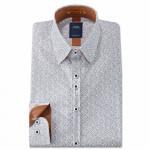 Chemise droite coton imprimée col boutonnage caché
