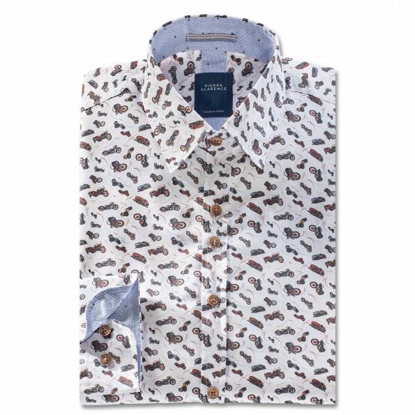 Chemise droite coton imprimée col contrasté