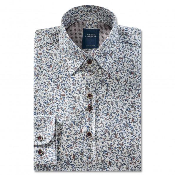Chemise droite coton imprimé fleurs col boutonnage caché