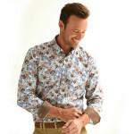 Chemise droite coton imprimée fleur col boutonné