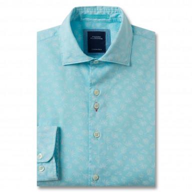 Chemise droite coton imprimée hibiscus col italien