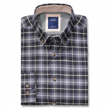 Chemise droite flanelle carreaux col contrasté