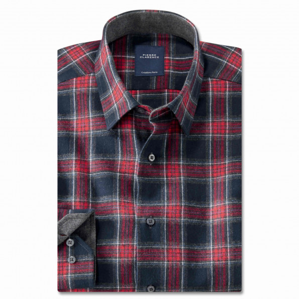 Chemise droite flanelle carreaux col semi-italien