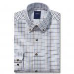 Chemise droite flannelle carreaux col boutonné