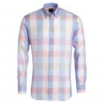 Chemise droite lin carreaux col boutonné