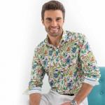 Chemise droite popeline imprimée colibri col semi-italien
