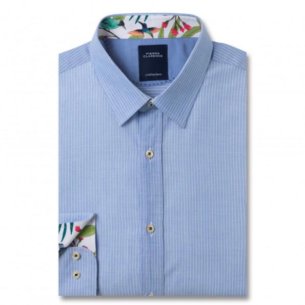 Chemise droite popeline rayée col semi-italien