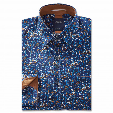 Chemise droite satin imprimée col boutonnage caché