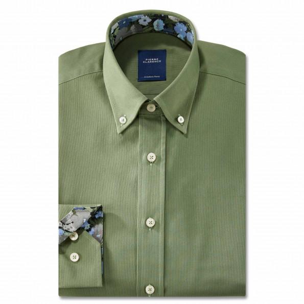 Chemise droite velours col boutonné