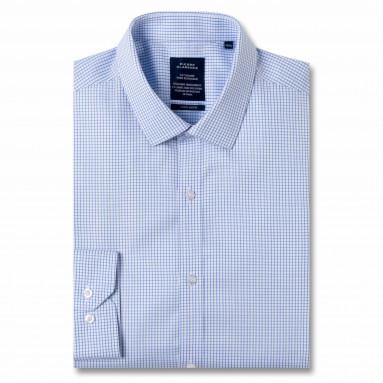 Chemise sans repassage ajustée popeline carreaux col semi-italien