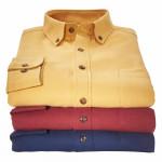 Chemises droites flanelle uni col boutonné - les 3