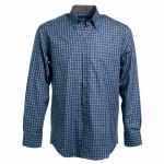 Chemise droite flanelle carreaux col boutonné