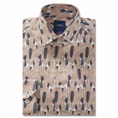 Chemise droite coton imprimée col semi-italien