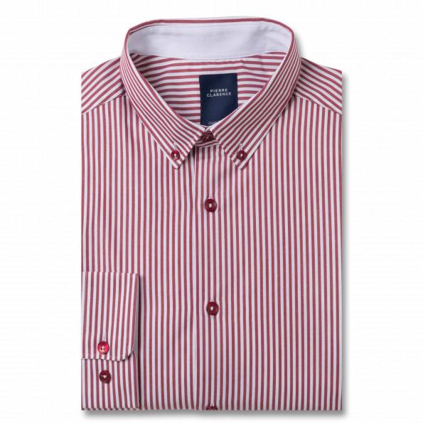 Chemise droite popeline rayée col boutonné