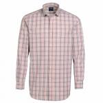 Chemise droite fil à fil carreaux col semi-italien