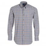 Chemise droite flanelle carreaux col boutonné poche poitrine