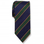 Cravate Marine et Vert  rayures - Soie