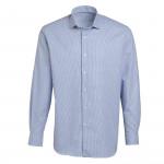 Chemise droite coton pied-de-poule rayée col semi-italien
