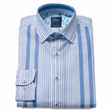Chemise droite rayée col italien