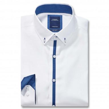 Chemise ajustée popeline col boutonné