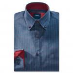 Chemise droite coton carreaux col contrasté rouge