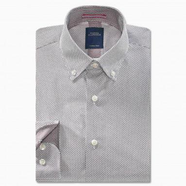 Chemise droite coton imprimée col boutonné