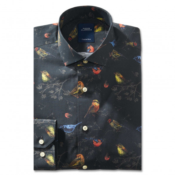Chemise droite coton imprimé col semi-italien