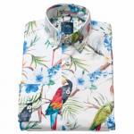 Chemise droite imprimé toucan col boutonnage caché