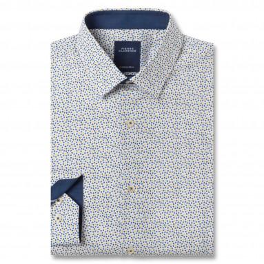 Chemise ajustée popeline chambray col boutonné