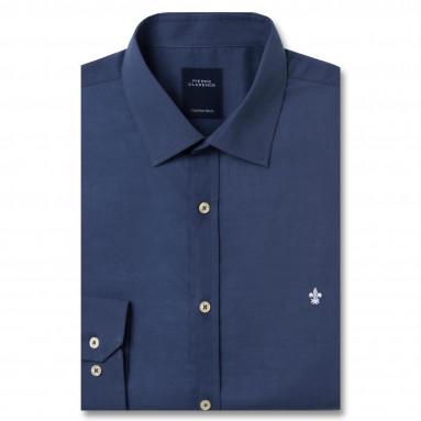Chemise droite voile de coton col semi-italien