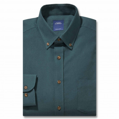 Chemise droite flanelle col boutonné