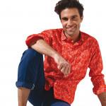 Chemise droite popeline imprimée col italien
