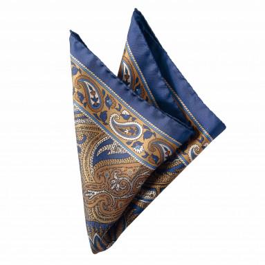 Pochette soie arabesque Ocre/Bleu