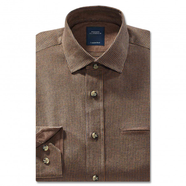 Chemise droite flanelle col boutonnage caché
