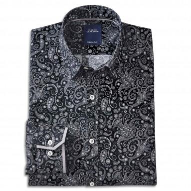 Chemise droite coton imprimée col boutonné First Class