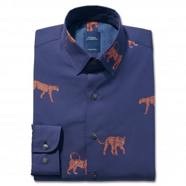 Chemise droite coton imprimée panthère col boutonnage caché