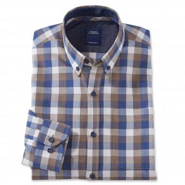Chemise droite carreaux col boutonné Sport - Chic