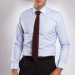 Chemise ajustée coton rayée col semi-italien