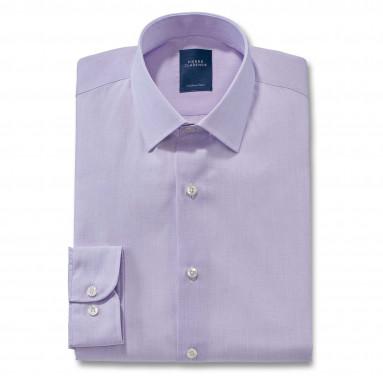 Chemise droite fil à fil col semi-italien
