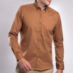 Chemise droite coton col boutonné col contrasté
