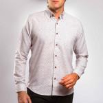 Chemise droite coton imprimé triangle col boutonné