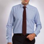 Chemise droite coton fines rayures col semi-italien